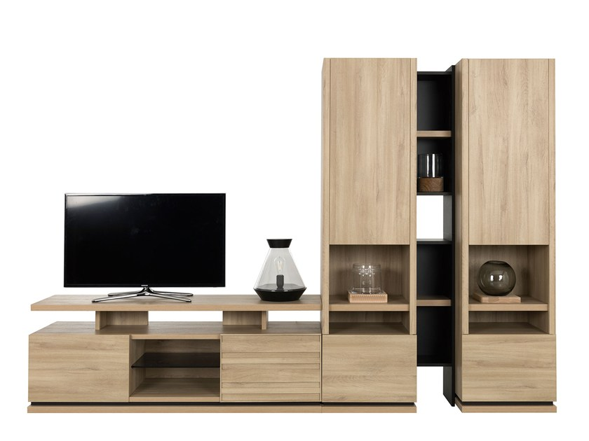 Sectional TV wall system NATURA LAYOUT 2 by GAUTIER FRANCE