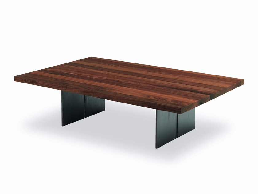 Low wooden and iron coffee table NATURA SMALL by Riva 1920
