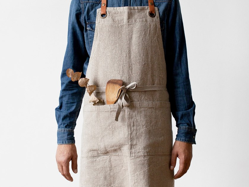 Washed linen luxury apron NATURAL   Kitchen apron by Linen Tales