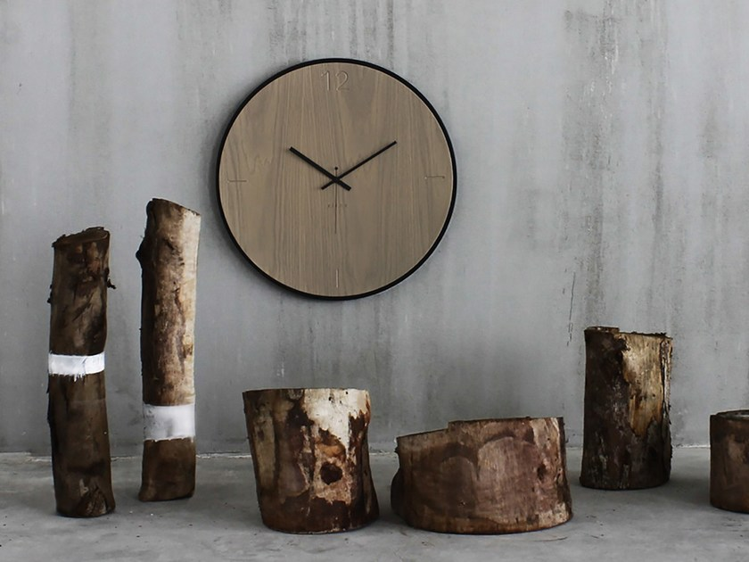 Wall-mounted wooden clock NATURAL OAK GREY by xline