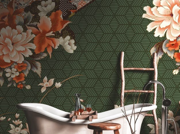 Panoramic wallpaper with floral pattern NATZUMI 2018 by Inkiostro Bianco