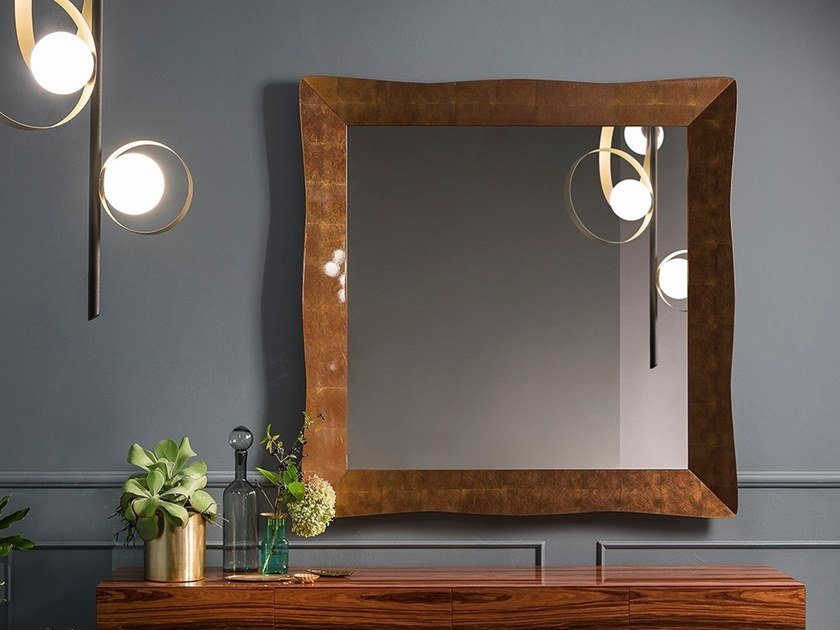 Square wall-mounted framed mirror NAUSICA | Square mirror by RIFLESSI