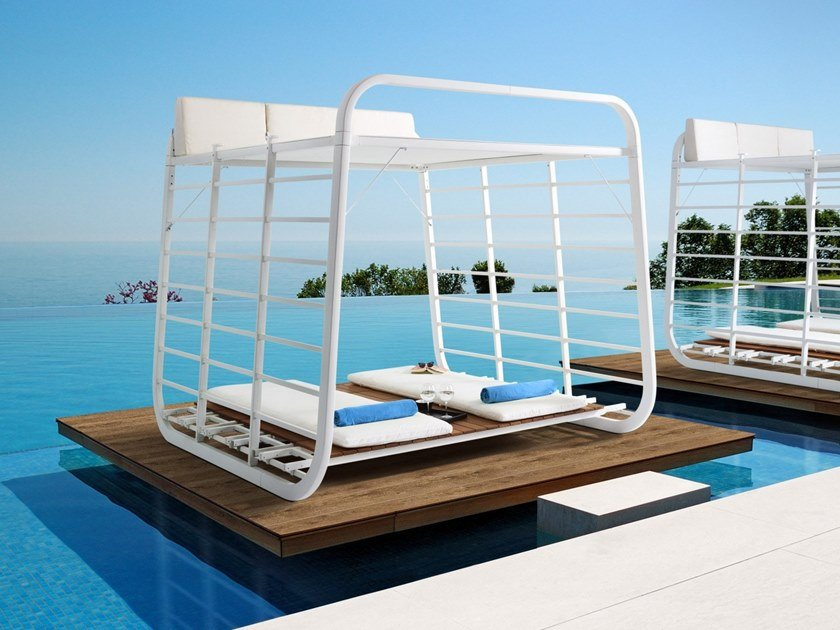 Recliner aluminium and wood garden daybed NAUTA | Garden daybed by Umbrosa