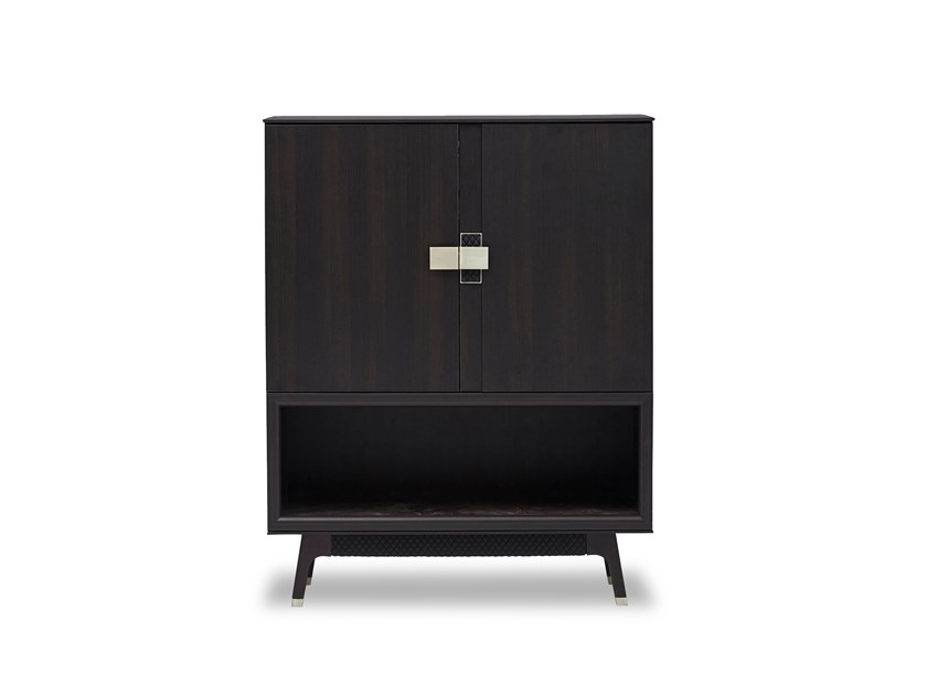 Lacquered wooden highboard with doors NAVONA | Highboard by Enza Home