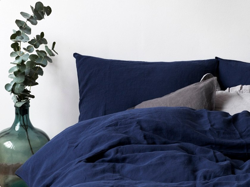 Washed linen Bed Set NAVY | Bedding set by Linen Tales
