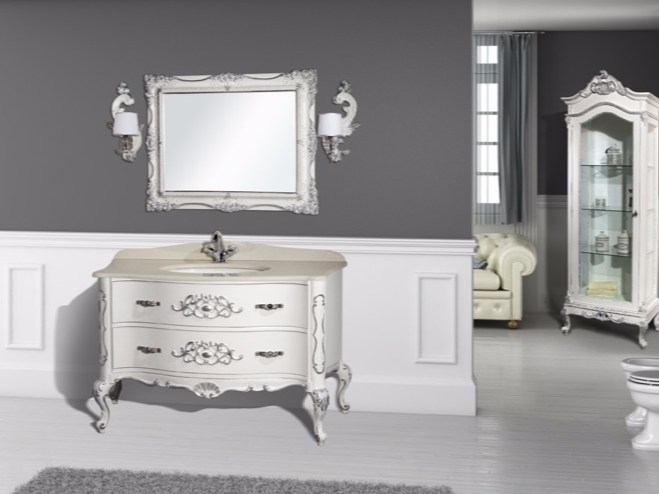 Lacquered vanity unit with drawers with mirror NAXOS CM25DC by LA BUSSOLA