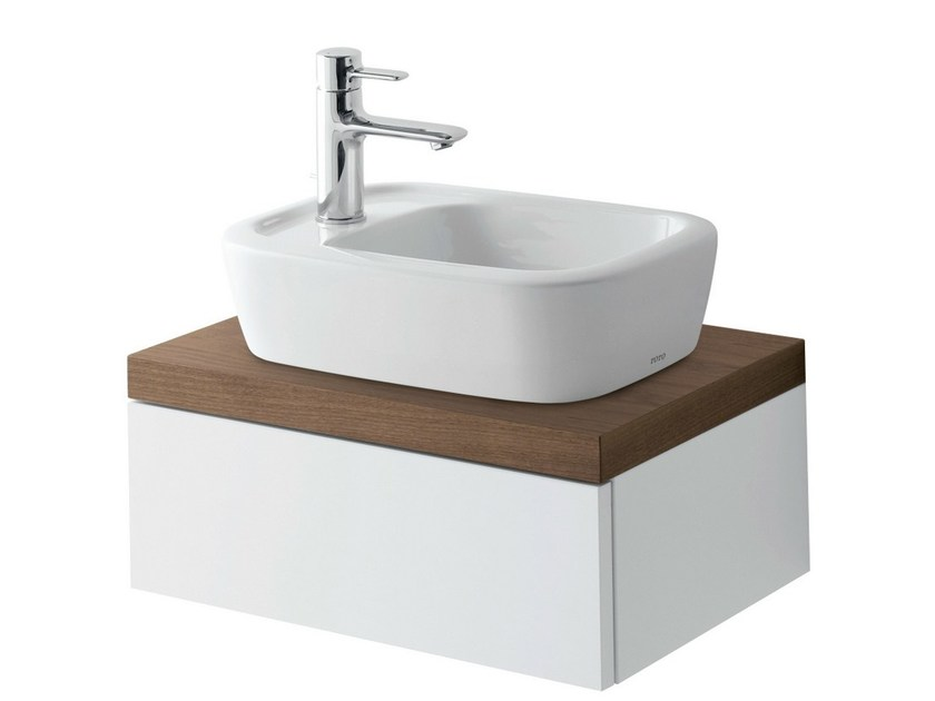 Single wall-mounted walnut vanity unit with doors NC   Single vanity unit by TOTO