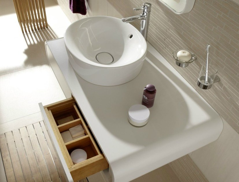 Single wall-mounted vanity unit with drawers NC   Vanity unit with drawers by TOTO