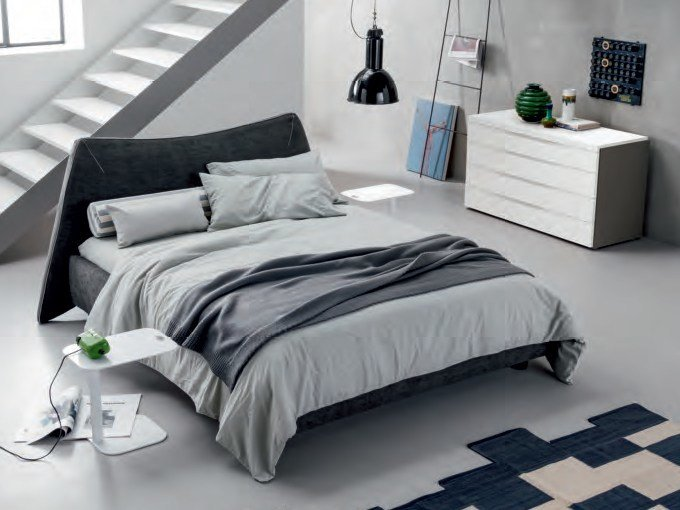 Fabric bed with upholstered headboard NEKO by Dall'Agnese