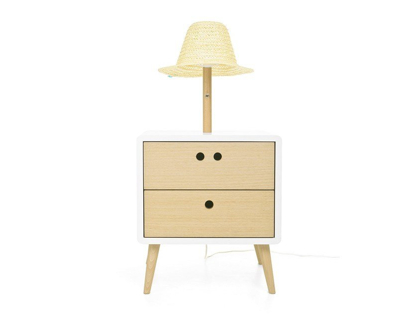 Side or bedside table with integrated lamp NEL by DAM