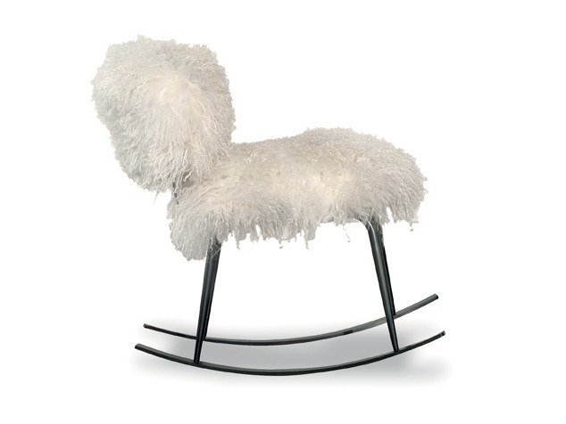 Rocking fur easy chair NEPAL   Rocking easy chair by BAXTER
