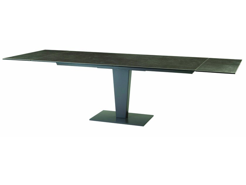 Extending rectangular glass and aluminium dining table NEPHTIS by ROCHE BOBOIS