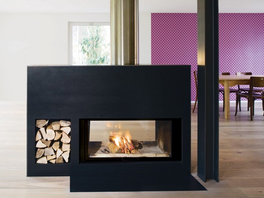 Double Sided Wood Burning Steel Fireplace With Panoramic Glass