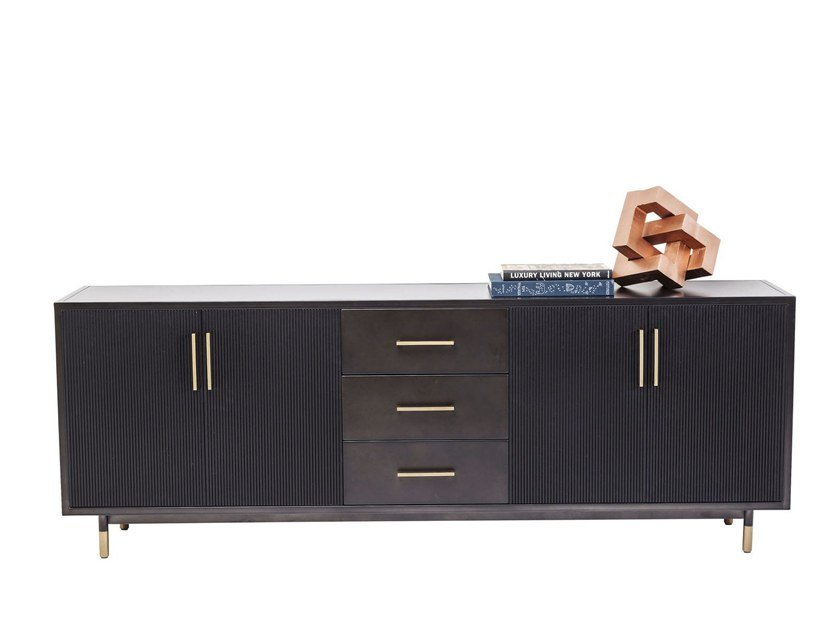 Powder coated steel sideboard with drawers NERO by KARE-DESIGN