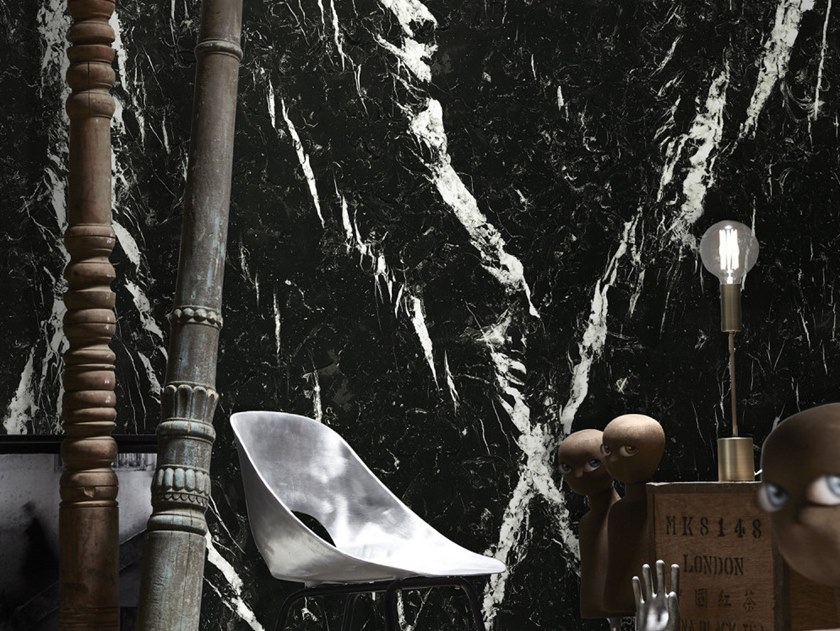 Washable panoramic wallpaper with marble effect NERO MARQUINA MARBLE | Panoramic wallpaper by Koziel