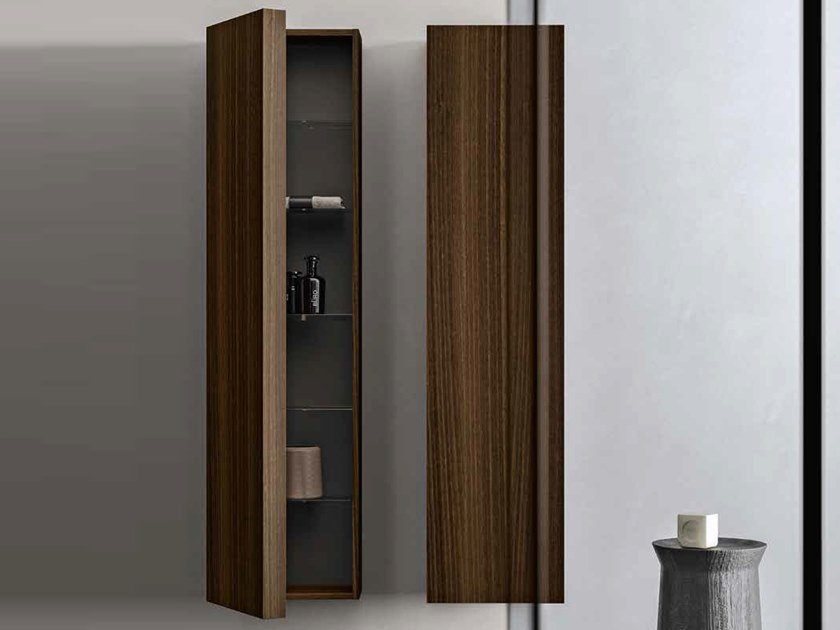 Column suspended bathroom wall cabinet with doors NEROLAB   Column bathroom wall cabinet by Cerasa