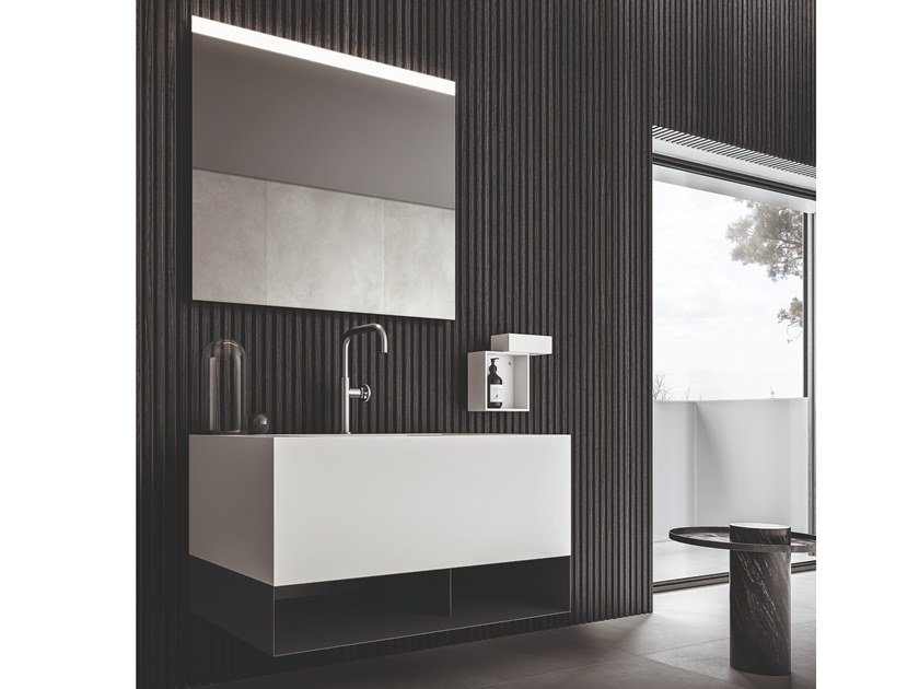 Lacquered wall-mounted vanity unit with towel rail NEROLAB | Vanity unit with towel rail by Cerasa