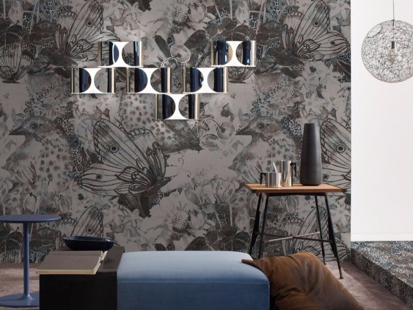 Panoramic wallpaper with floral pattern NEST by Inkiostro Bianco