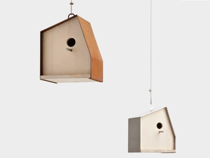 Casetta per gli uccelli in legno e acciaio Corten NEST N° 1 by DE CASTELLI