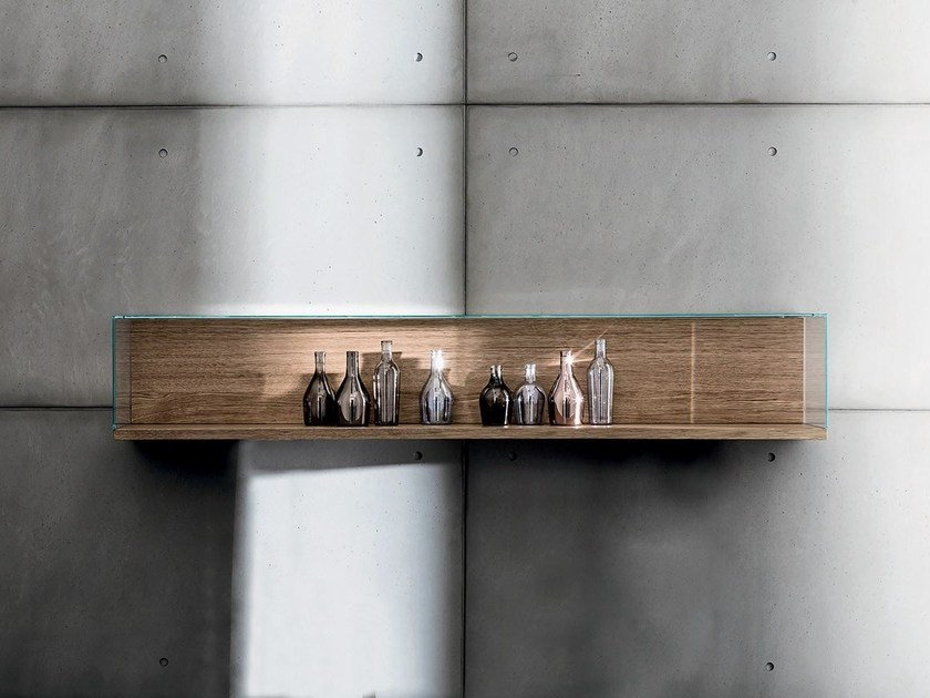 Wall-mounted wood and glass retail display case NEST WALL VERSION | Wall-mounted retail display case by Sovet italia