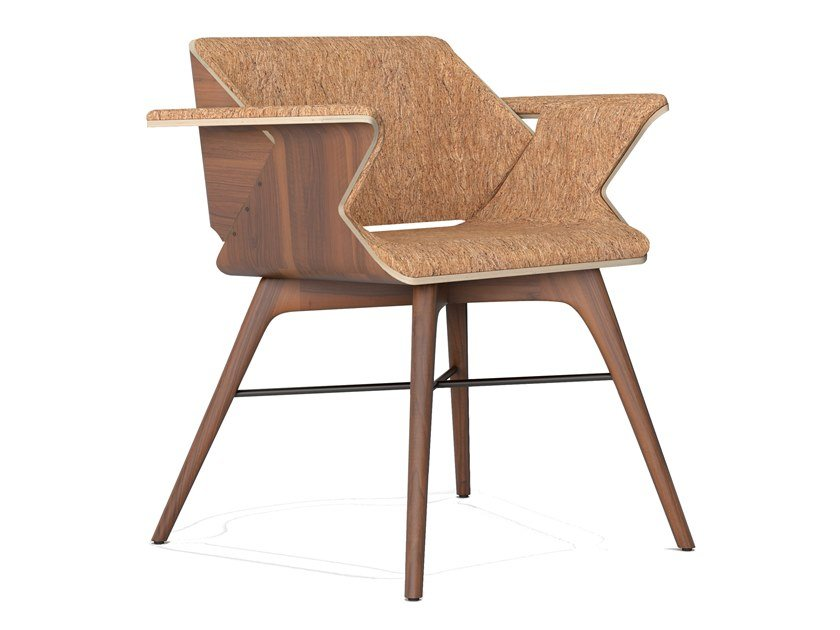 Cork and wooden chair with armrests NEST WINGS | Cork chair by AROUNDtheTREE
