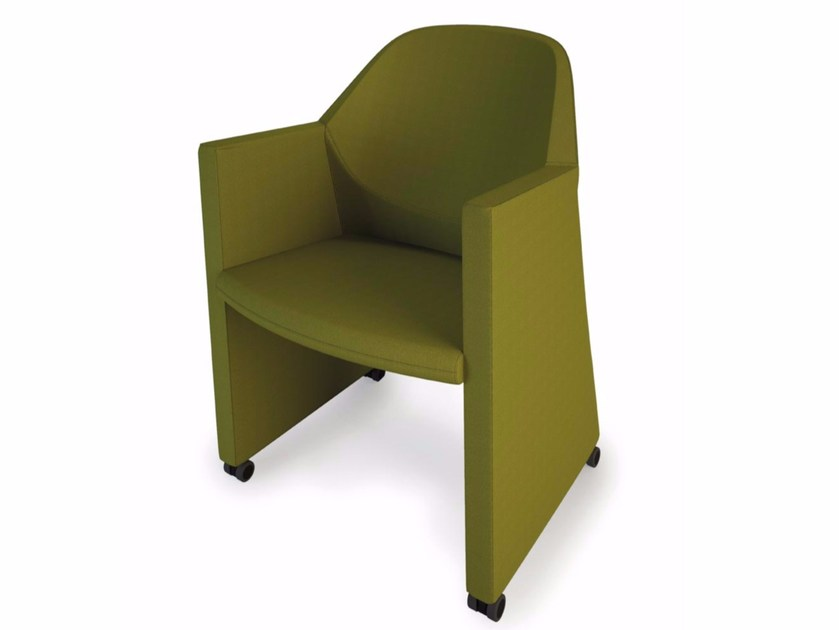 Upholstered easy chair with armrests with casters NESTAR | Upholstered easy chair by Luxy