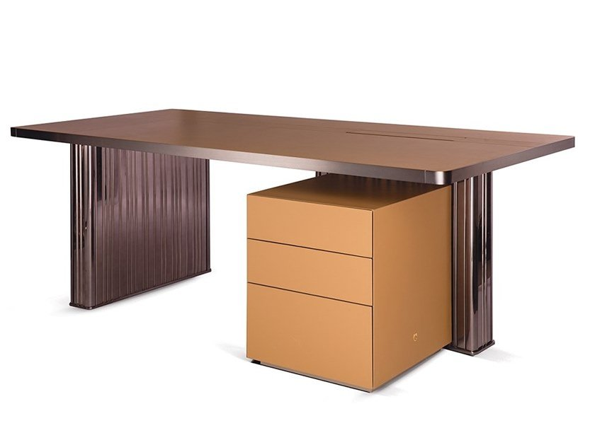 Rectangular desk with drawers in leather and metal NETTUNO | Writing desk by Paolo Castelli