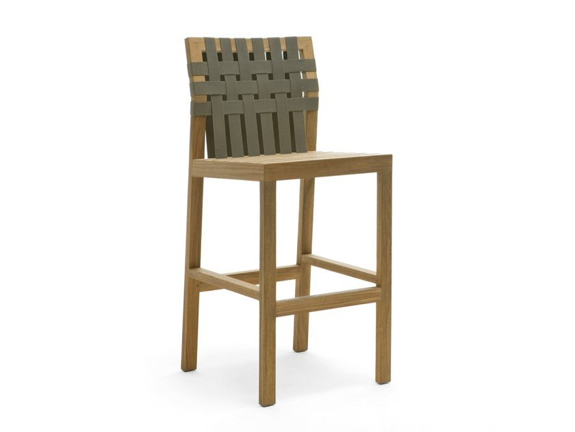 High teak stool with footrest NETWORK 150 by RODA
