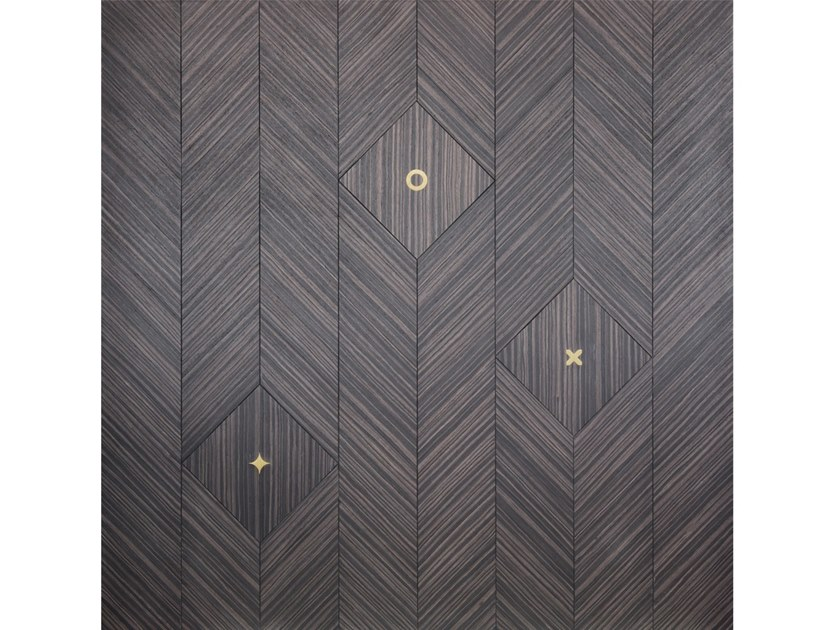 Reassembled wood and brass wall tiles NEW FLORENCE by Palazzo Morelli