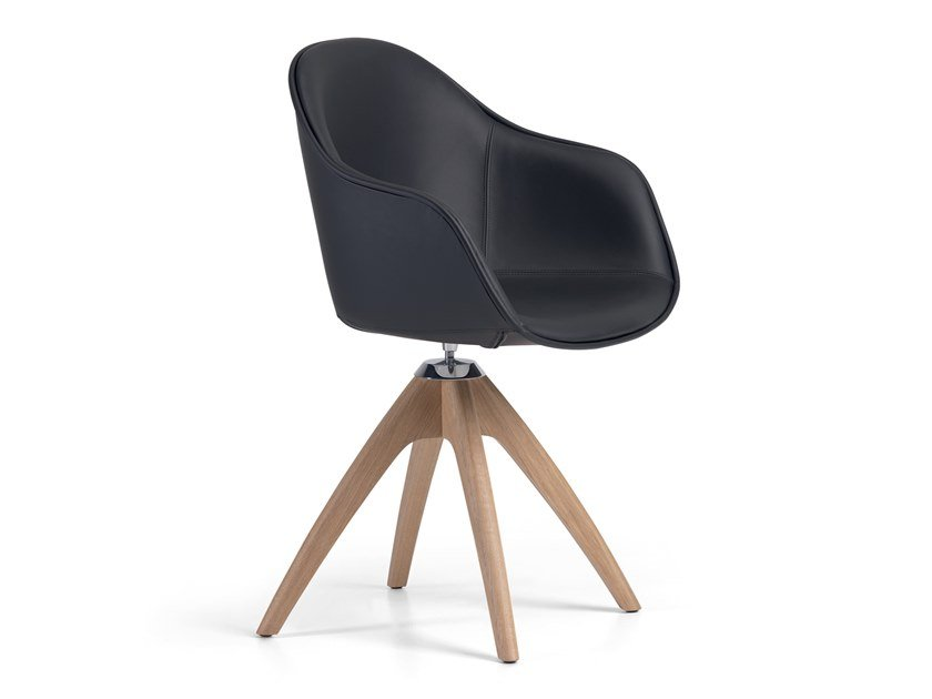 Leather chair with armrests NEW LADY SOFT WOOD - 07F by Alias