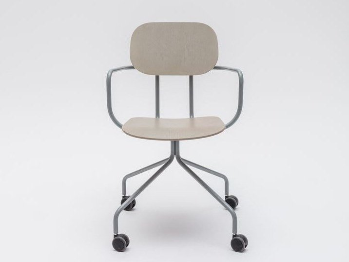 Trestle-based plywood chair with castors NEW SCHOOL | Chair with castors by MDD
