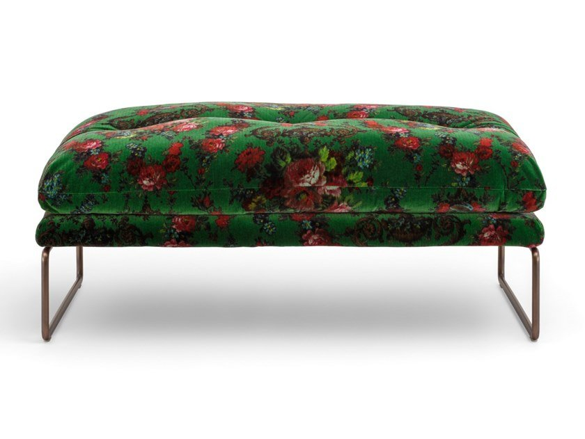 Sled base upholstered fabric footstool NEW YORK SUITE | Footstool by Saba Italia