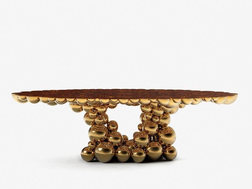 Tavolo da pranzo in ottone NEWTON GOLD MYRTLE by Boca do Lobo