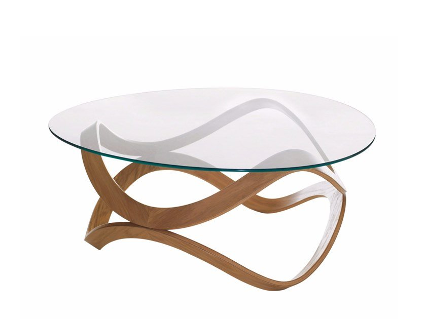 Low Round Glass Coffee Table Newton By Karl Andersson Design Dan Sunaga Staffan Holm - Small Round Wooden Garden Coffee Table