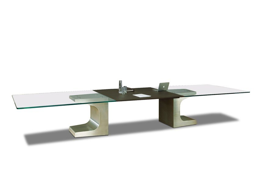 Rectangular glass meeting table with cable management NIEMEYER | Glass meeting table by ESTEL GROUP