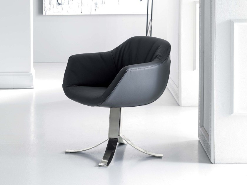 Upholstered leather easy chair with 4-spoke base NIGEL by Ozzio Italia