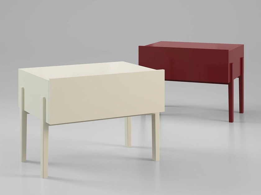 Lacquered rectangular bedside table with drawers NIJI by ALIVAR