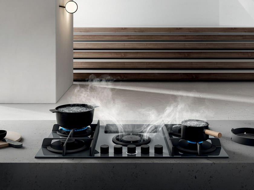 Piano cottura a gas con cappa integrata NIKOLATESLA FLAME ...