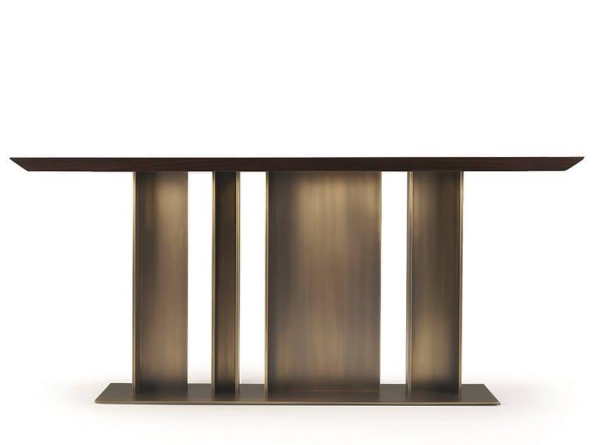 Rectangular wood-bronze console table NILA by Promemoria