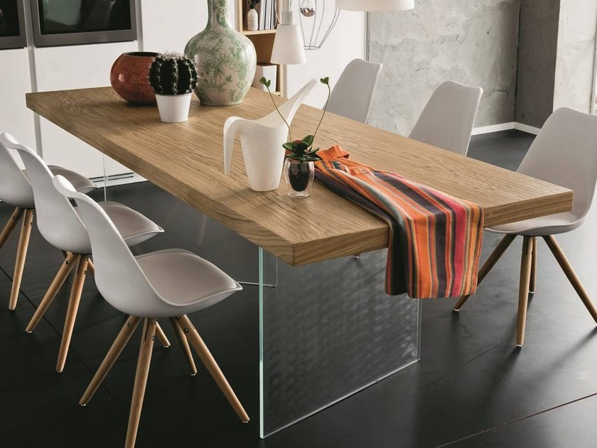 Rectangular wood and glass dining table NIZZA + ICE by AltaCorte