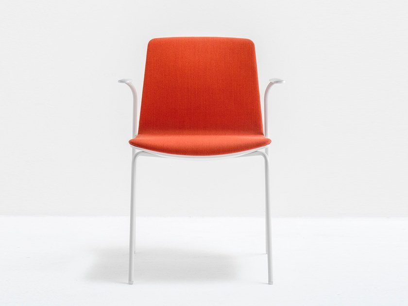 Upholstered polycarbonate chair with armrests NOA 726 by PEDRALI