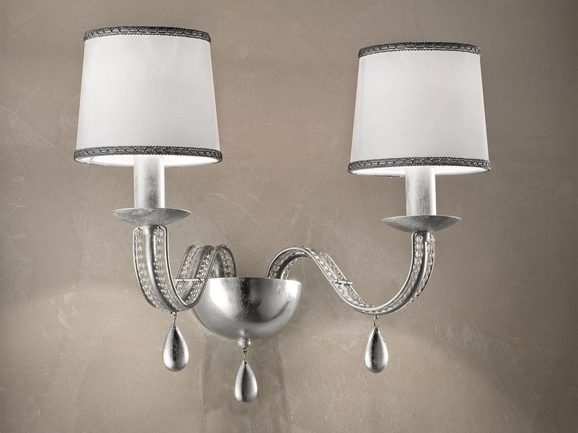 Direct light metal wall lamp with crystals NOBLESSE A2 / A4 by Masiero