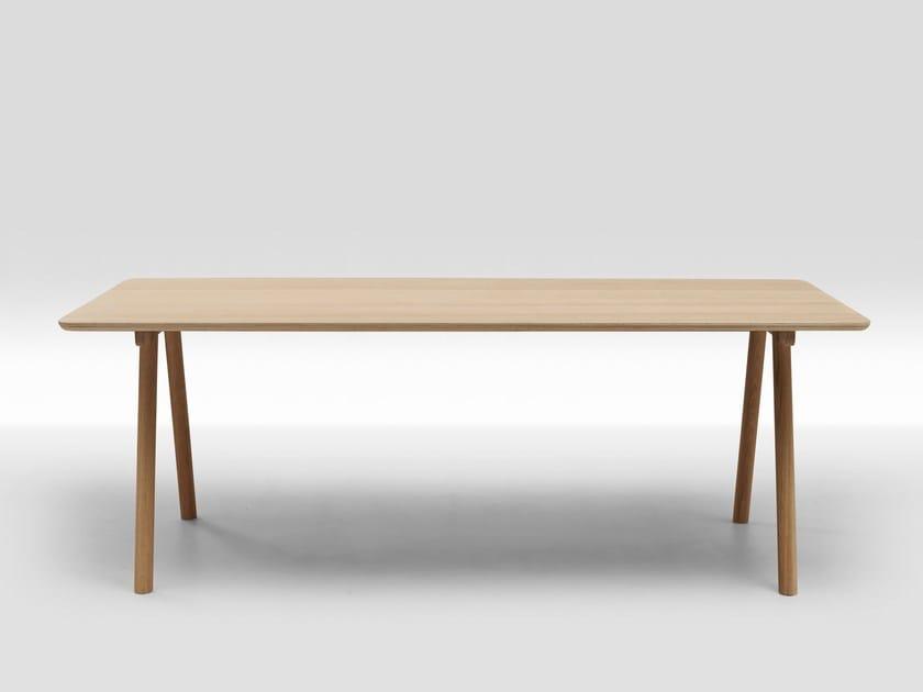 Rectangular wood veneer dining table NODE | Wood veneer table by Loof