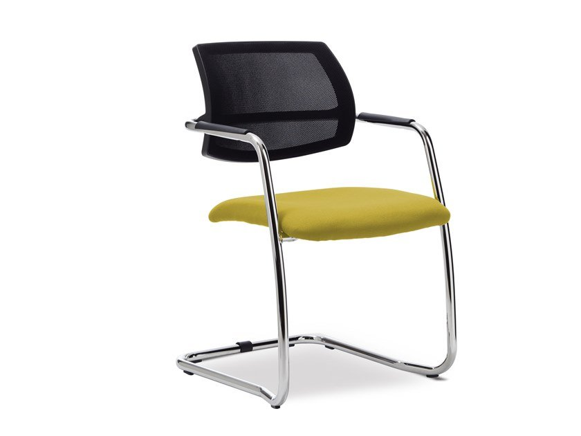 Cantilever upholstered chair with armrests NODO by Sinetica