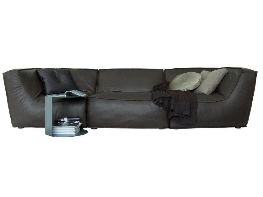 Sectional leather sofa with removable cover NOE | Leather sofa by Verzelloni