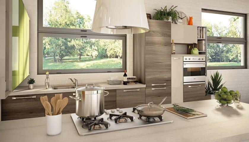 Cucina componibile laccata con maniglie NOEMI 4 - Cucine Lube