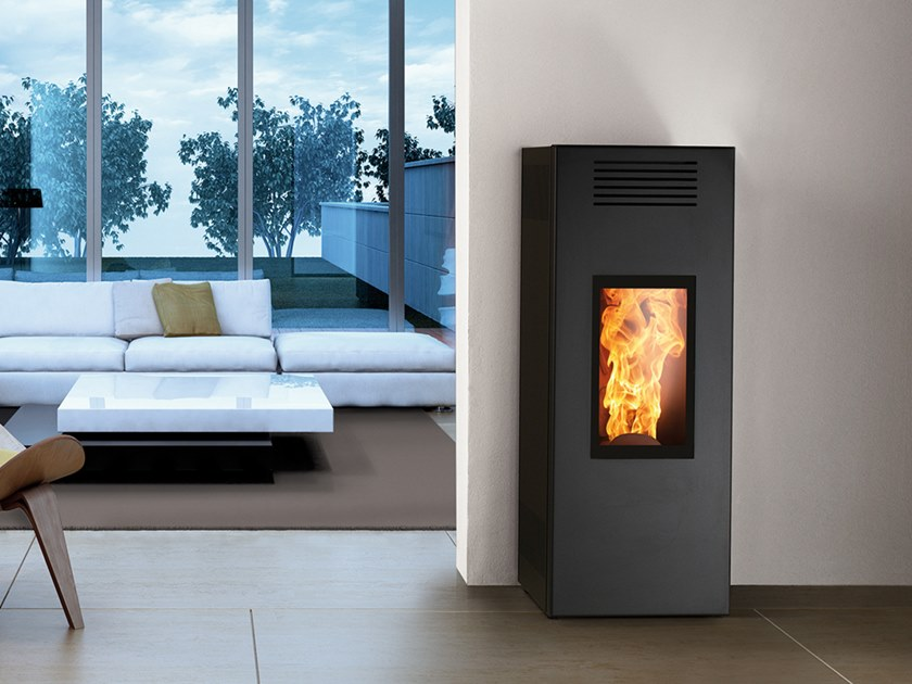 Pellet Class A+ wall-mounted steel stove NOIR EVO by CAMINETTI MONTEGRAPPA