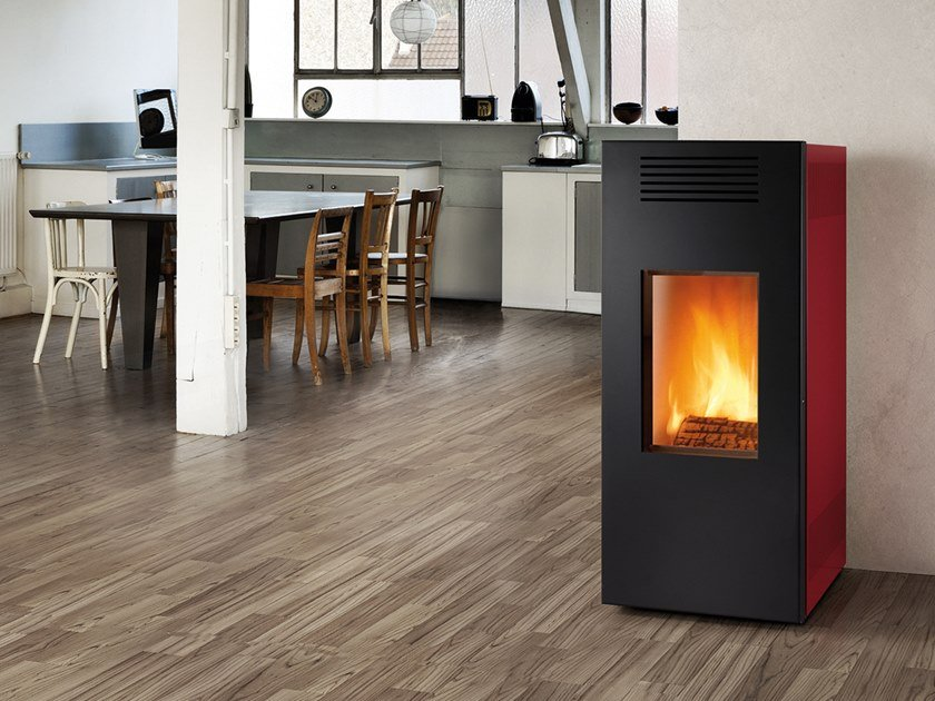 Wood-burning Class A wall-mounted steel stove NOIR XW | Wood-burning stove by CAMINETTI MONTEGRAPPA