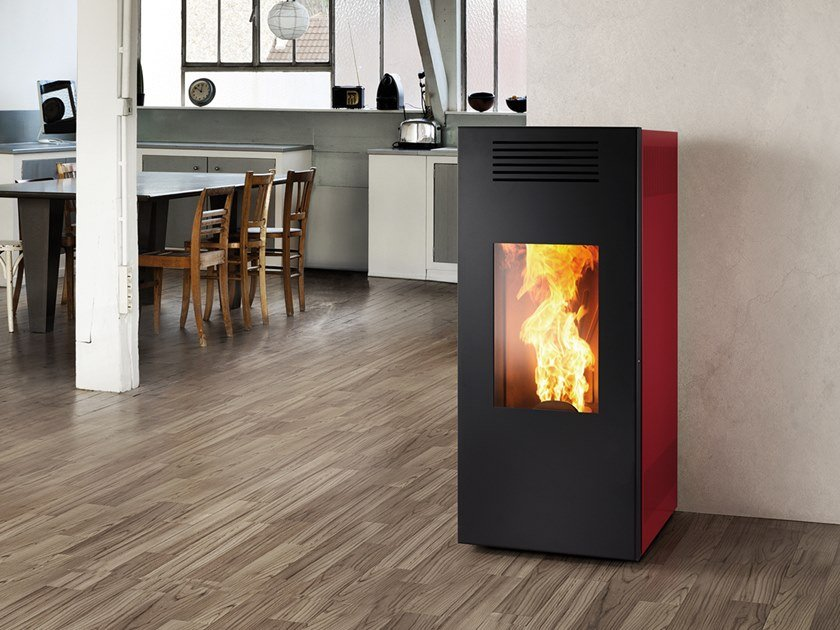 Pellet Class A+ steel Heating stove NOIR XW | Pellet stove by CAMINETTI MONTEGRAPPA