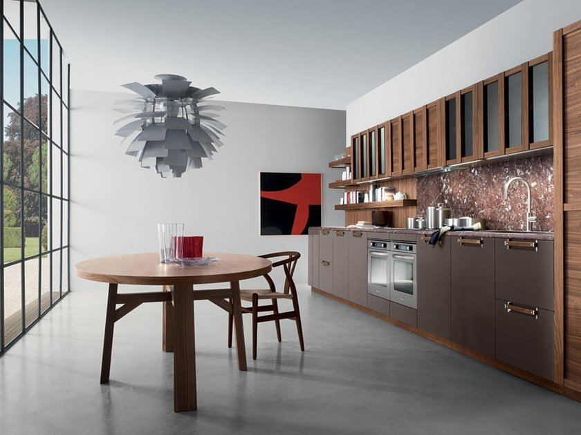 Lacquered linear wooden kitchen with handles NOISETTE ROOM THREE by Composit